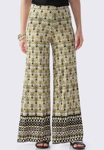 Bordered Havana Floral Scroll Palazzo Pants