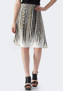 Geo-Abstract Striped A-Line Skirt