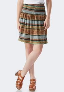 Moroccan Striped Tiered Skirt