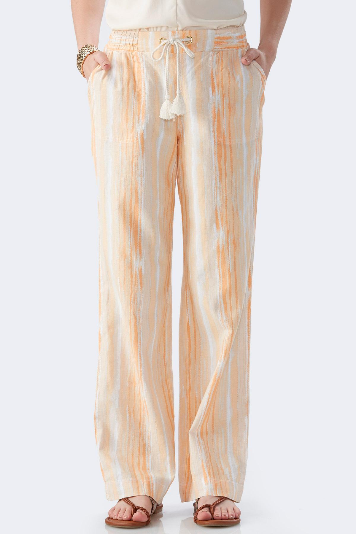 Ombre Wash Drawstring Linen Pants Pants | Cato Fashions