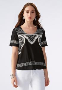Graphic Paisley Ladder Back Skimmer Top-Plus