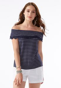 Ruffled Off the Shoulder Striped Top-Plus