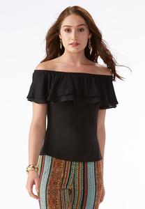 Double Ruffle Off the Shoulder Top-Plus