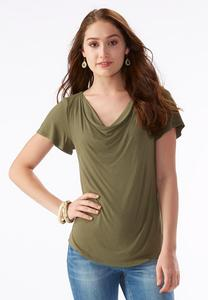 Cowl Neck Top-Plus