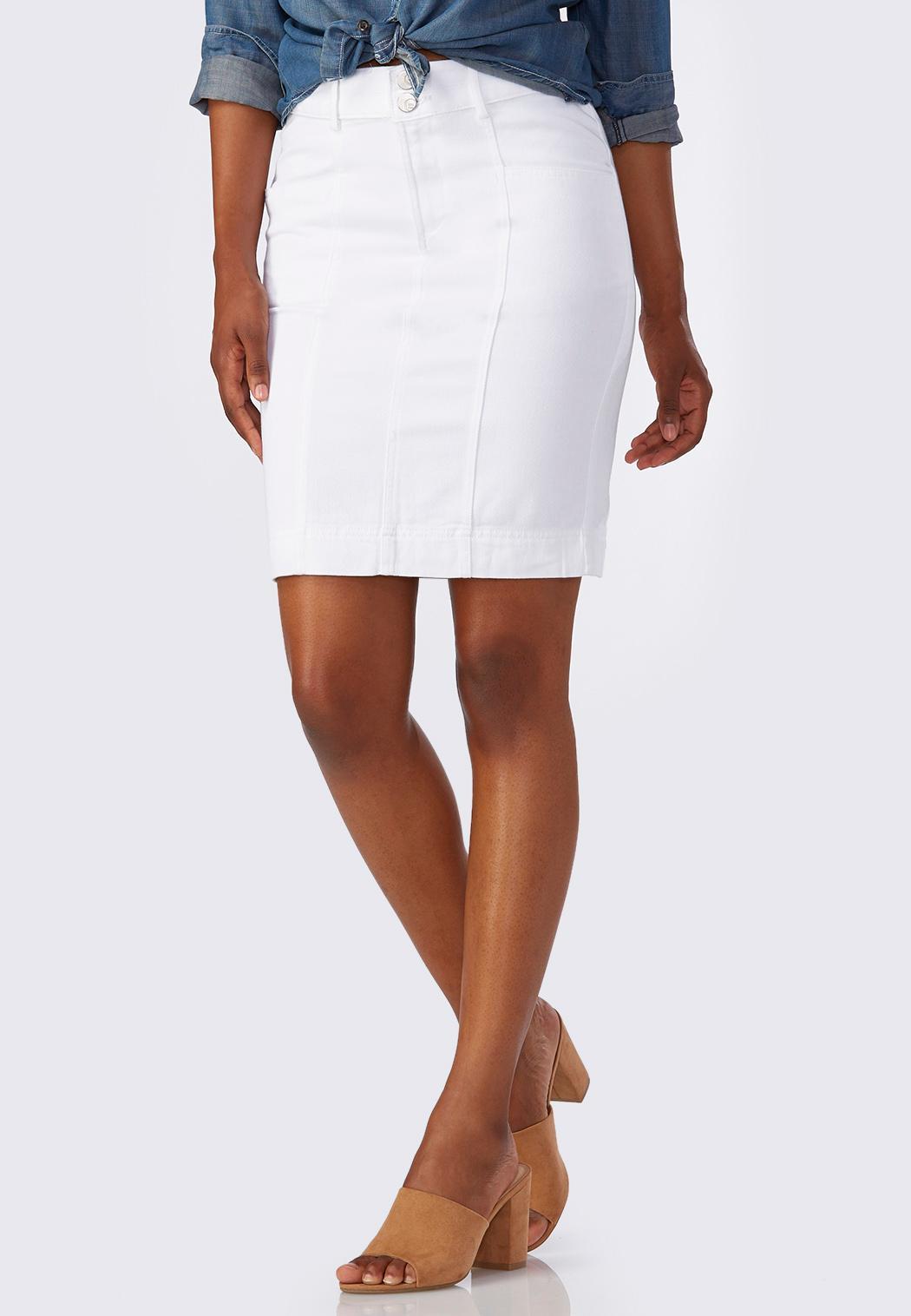 White Denim Pencil Skirt Skirts | Cato Fashions