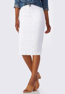 White Denim Pencil Skirt-Plus