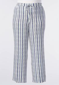 Striped Knit Drawstring Palazzo Pants-Plus