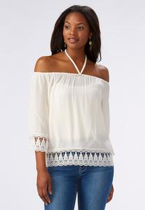Tie Neck Off the Shoulder Top-Plus