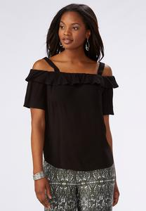 Ruffled Cold Shoulder Top-Plus