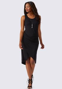 Ruched Tulip Hem Sheath Dress-Plus