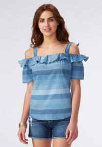 Mixed Stripe Ruffled Cold Shoulder Top-Plus