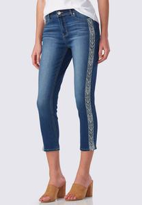 Tribal Embroidered Skinny Crop Jeans