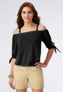Cold Shoulder Double Layer Top