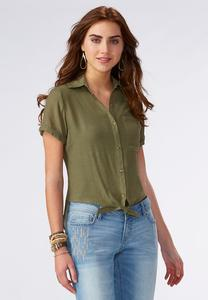 Tie Front High-Low Button Down Shirt-Plus
