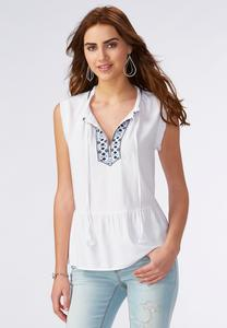 Fringe Trim Embroidered Poet Top