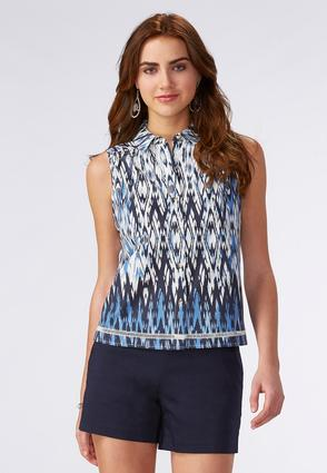 Abstract Button Down Tank- Plus