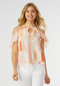 Block Striped Ruffled Cold Shoulder Top