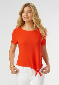 Side Tie Solid Blouse-Plus