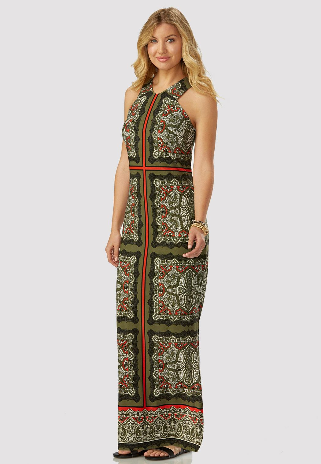 South scarf print halter maxi dress