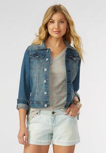 Denim Trucker Jacket-Plus