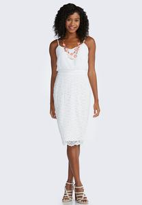 Blouson Lace Midi Dress-Plus