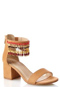 Beaded Strap Block Heeled Sandals
