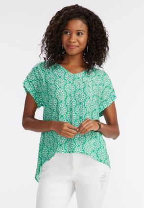 Abstract Medallion Crochet Trim Top