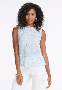 Watercolor Paisley Crochet Trim Tank-Plus
