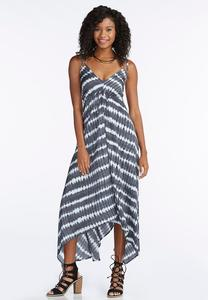 Tie Dye Strappy Asymmetrical Maxi Dress