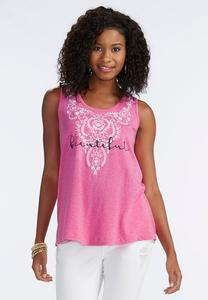 Embroidered Beautiful Graphic Tank-Plus