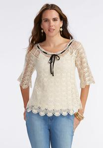 Drawstring Neck Crochet Top-Plus