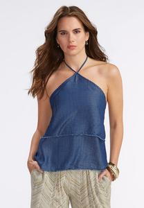Tiered Chambray Halter Tank