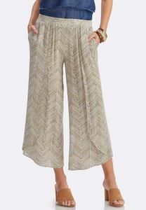Herringbone Sketch Tulip Hem Crop Pants