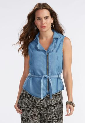 Belted Chambray Vest- Plus