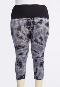 Tie Dye Crop Leggings-Plus