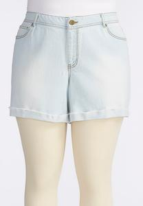 Frayed Cuff Girlfriend Jean Shorts-Plus