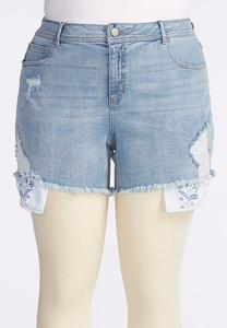 Floral Pocket Distressed Jean Shorts-Plus