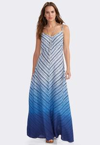 Indigo Ombre Striped Maxi Dress