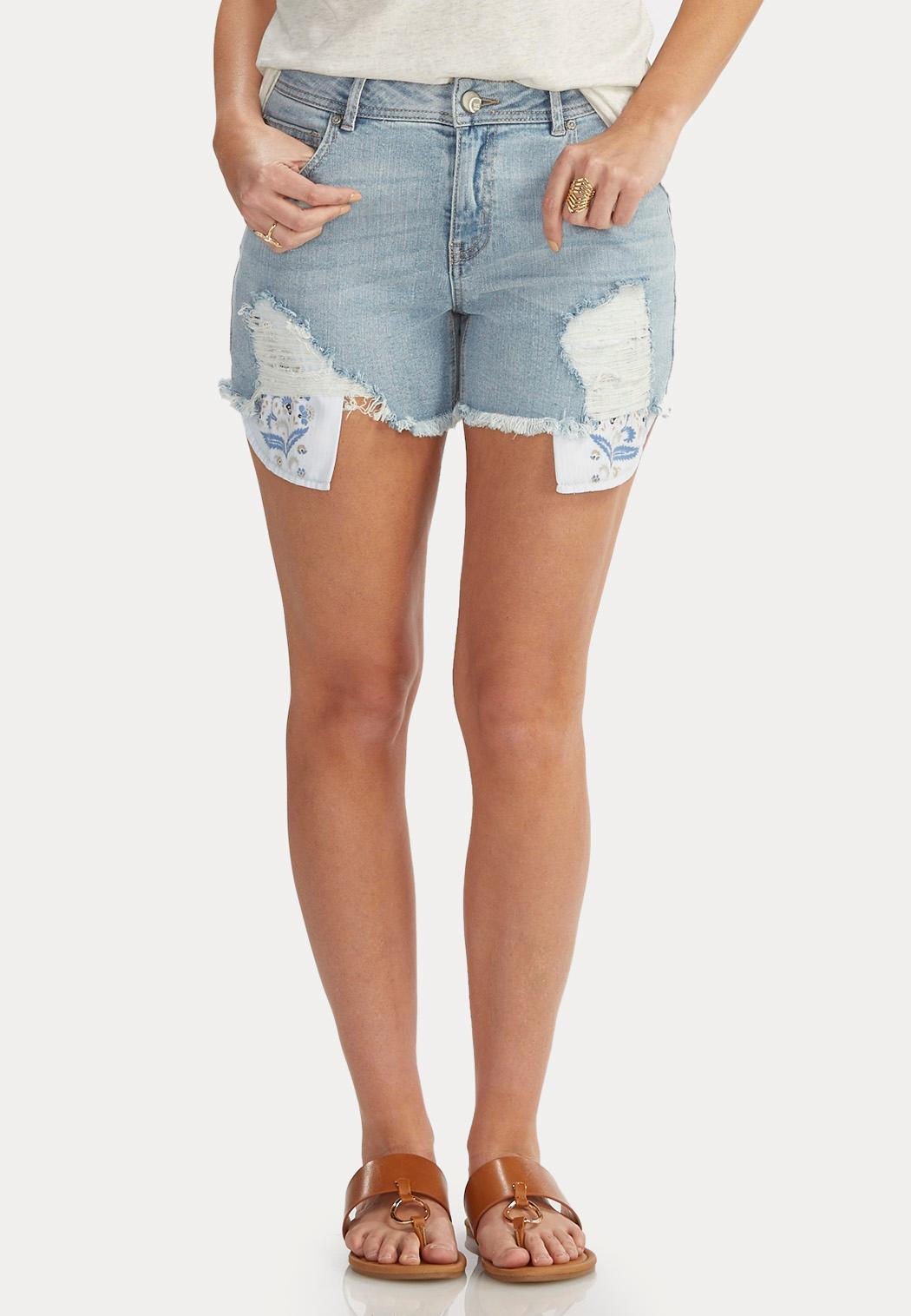 Floral Pocket Distressed Jean Shorts Shorts & Crops Cato Fashions