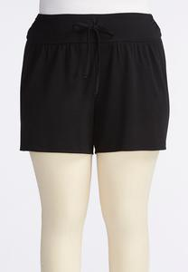 Relaxed Drawstring Athleisure Shorts-Plus