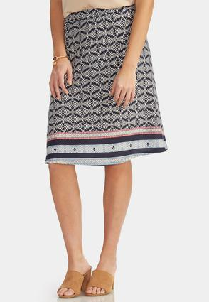 Abstract Border Print Knit Skirt- Plus