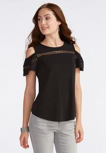 Cutout Trim Cold Shoulder Top