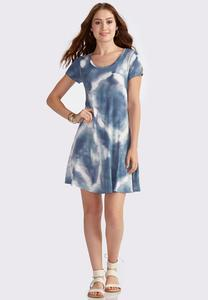 Tie Dye Cutout Back Swing Dress-Plus
