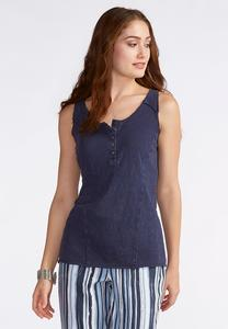 Button Placket Knit Tank- Plus