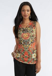 Printed Cowl Neck Tank-Plus