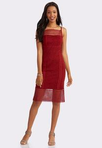 Lace Bordered Midi Sheath Dress-Plus