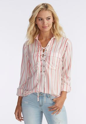 Bold Striped Lace Up Shirt