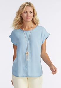 Chambray Popover Top-Plus