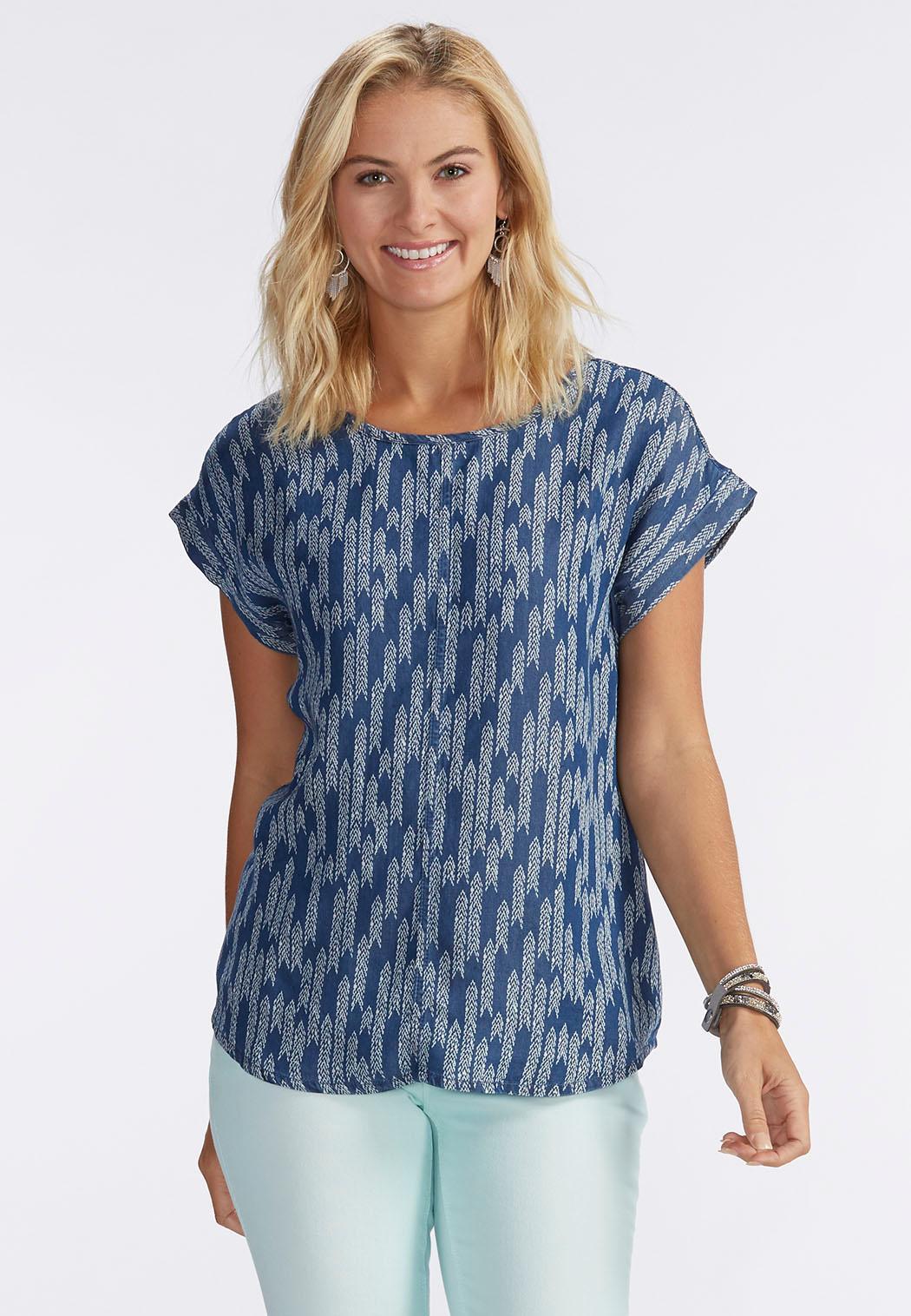 Plus size denim shirts cato fashions for Plus size chambray shirt