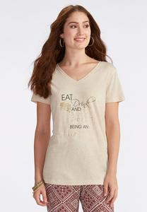 Eat Drink Celebrate Graphic Tee-Plus